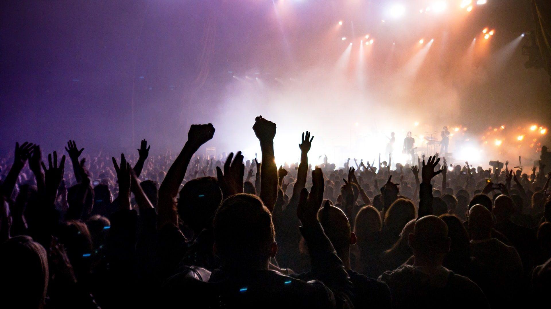 Public bras levés lors dun spectacle